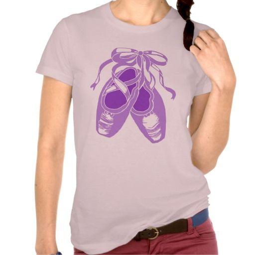 Purple Ballet Shoes Women's Mauve T-Shirt; Abigail Davidson Art; ArtisanAbigail at Zazzle