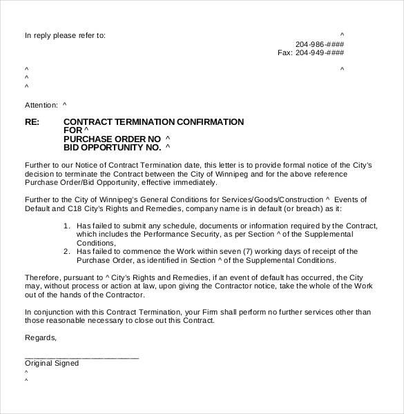 termination letter distributor agreement free partnership - purchase order agreement template