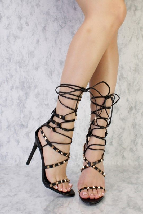 92dc66ee0a2a Black Criss Cross Pyramid Studded Strappy Lace Up Open Toe Single Sole High  Heel Faux Leather