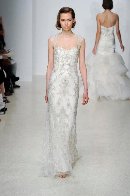 Vestido De Novia Largo En Color Blanco Con Pedreria Y Brocados