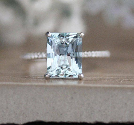 Milgrain Diamond Aquamarine Engagement Ring, Diamond Wedding Band, White Gold Bridal Ring Set, Emerald Cut 10x8mm Aquamarine & Diamond Ring #aquamarineengagementring
