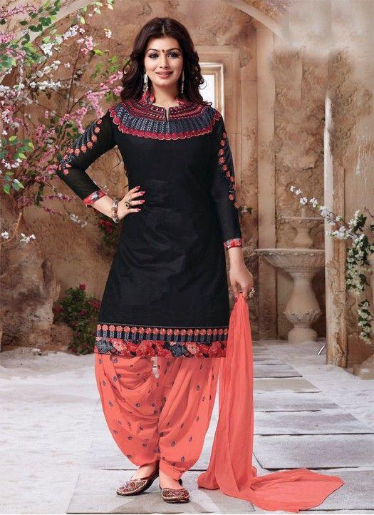 bb44ab0da Black & Orange Fancy Cotton Patiyala Suit @Rs.1049 #Fancy #Designer #Latest  #Salwar Suit
