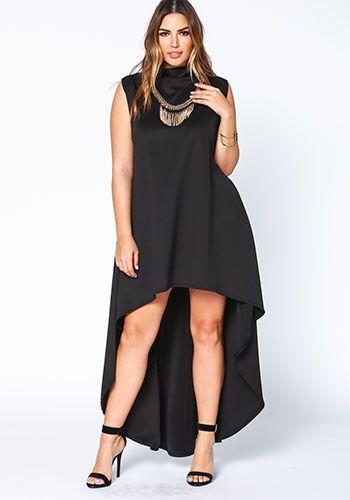 Cute Plus Size Black High Low Scuba Dress