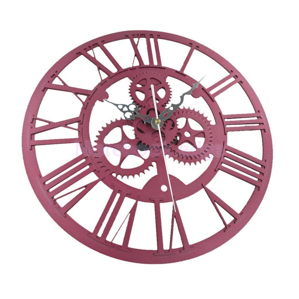 Cm home indoor wall clock big roman numerals big open face metal red