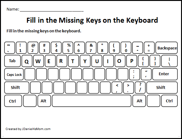 Learning The Computer Keyboard Layout Fill In The