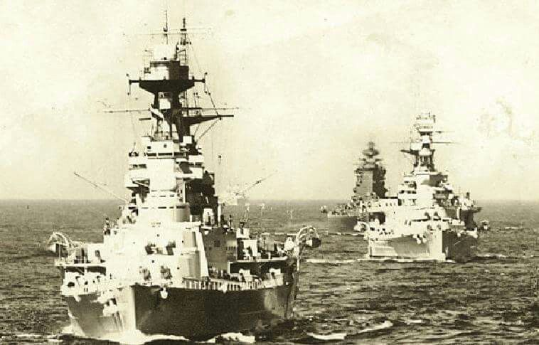 HMS Hood, Repulse and Nelson in 1936...very old vintage photograph ...