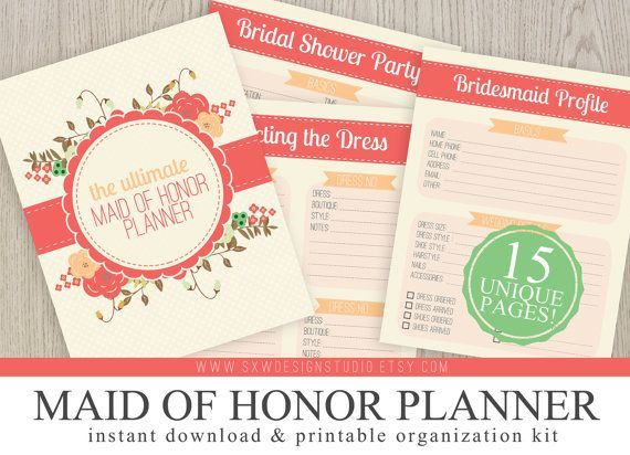 graphic relating to Maid of Honor Printable Planner named Final Maid of Honor Marriage ceremony Planner Organizer Package