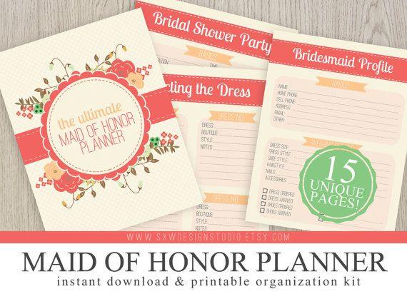 Printable Wedding Planner Binder Planning A Rustic: Ultimate Maid Of Honor Wedding Planner