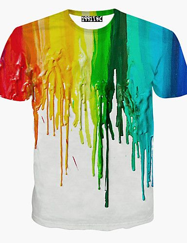 Masculino Camiseta Esportes Casual Estampado Arco-Íris Algodão Manga Curta  de 4859899 2017 por R 29,81 653eff0782