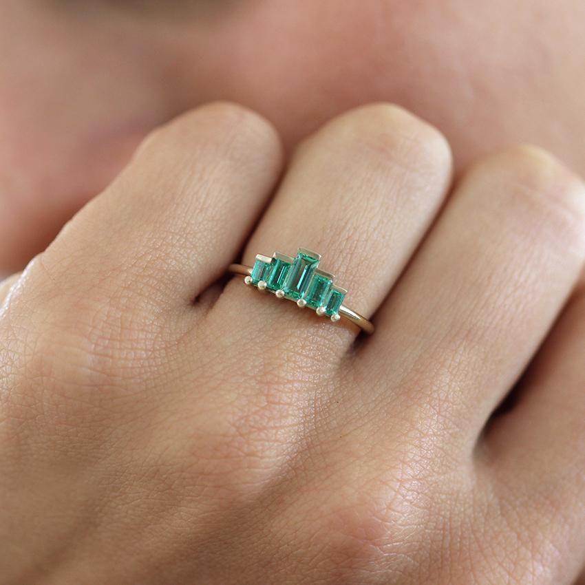 Photo of Baguette Cut Emerald Engagement Ring – Art Deco Emerald Ring – Baguette …