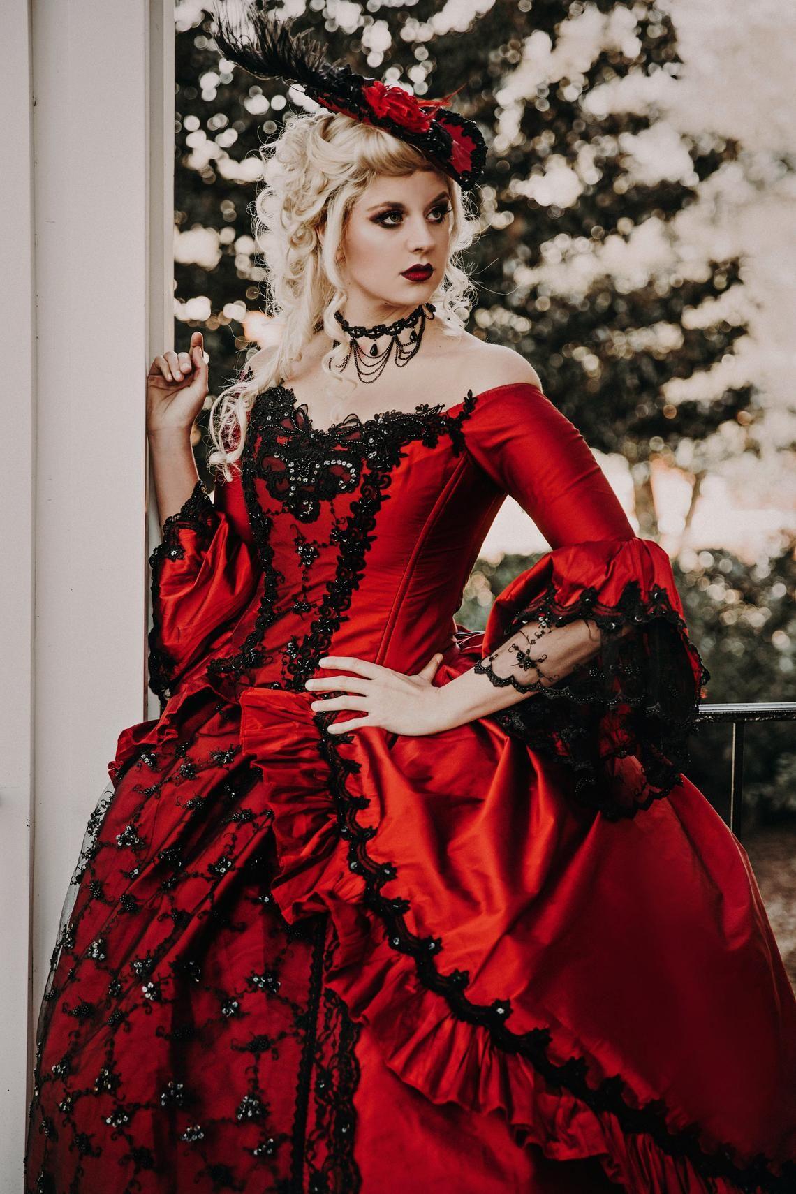 2f4f9bed3bcf Custom Red/Black Marie Antoinette Upscale Victorian Gothic Wedding Costume  Gown with Hat