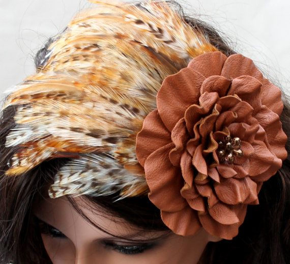 Brown feather fascinator rust leather flower headband with beaded ... ab8bddf0bc7