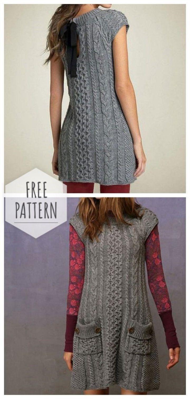 Gray Dress Tunic Pearl Pattern With Pockets Knitting