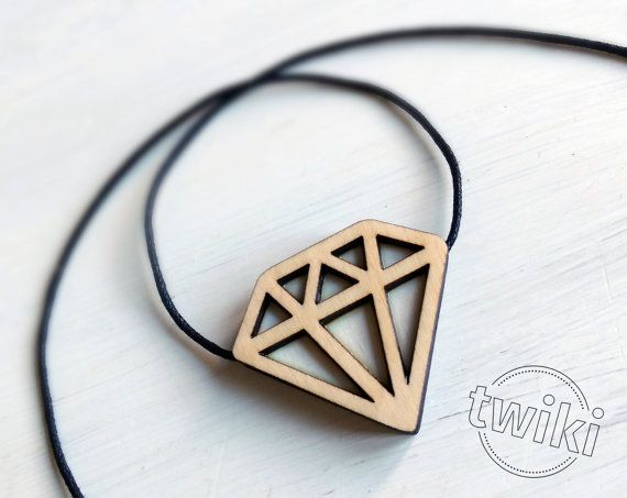 Diamond wood necklace, wood diamond pendant by TwikiConcept