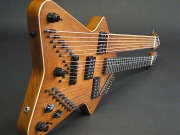 custom doubleneck electric harp guitar
