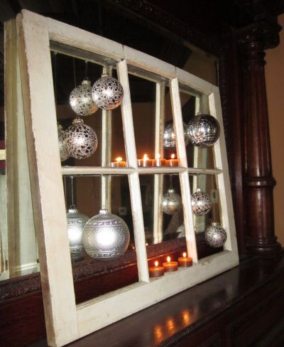 Handmade Christmas Crafts and Decorations - Recycle an old window into a shabby chic Christmas tree ornament display & Handmade Christmas Crafts and Decorations - Recycle an old window i ...