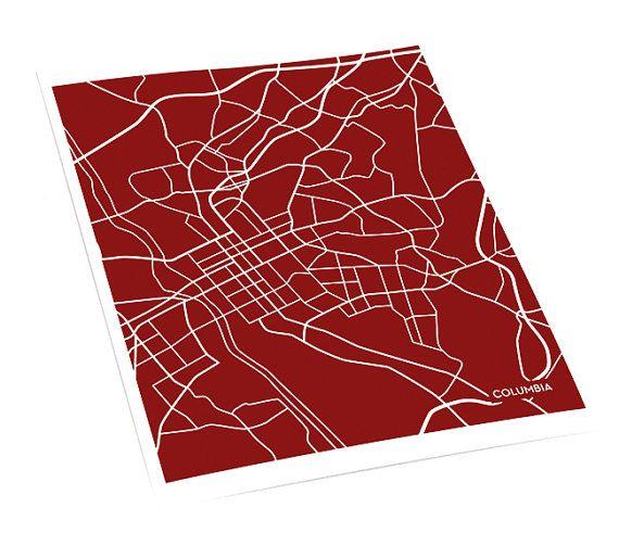Columbia SC City Map Wall Poster / University of South Carolina USC ...