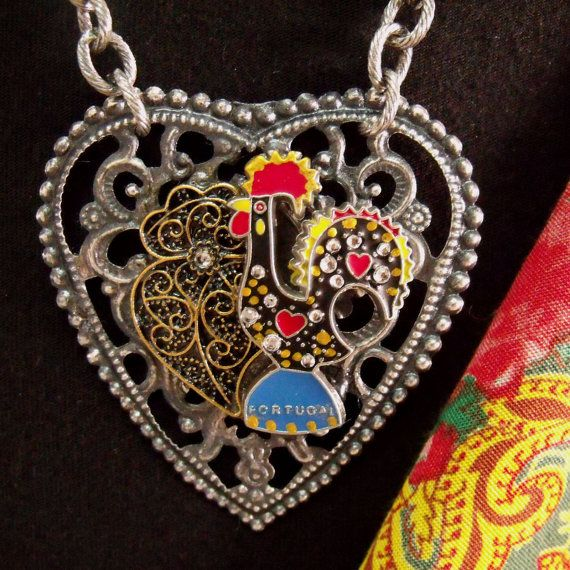 Portugal rooster Galo Viana Heart necklace folk jewelry ...