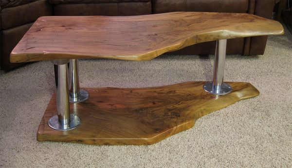 Wood slab coffee table wood slab woods and timber table for Interesting table legs