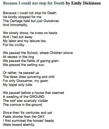 i could not stop for death poem
