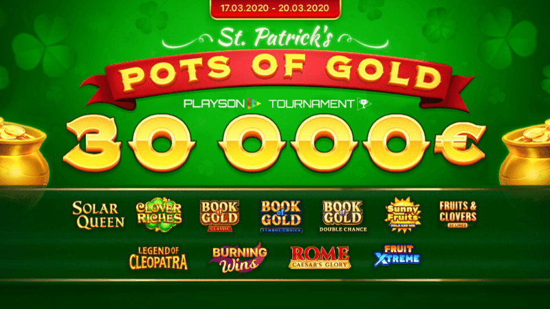 Join The St Patrick Pot Of Gold Slots Tournament To Win Up To 30 000 Tournaments Online Gambling Slot