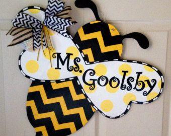 Bumblebee Door Hanger Bee Door Hanger Custom Door Hanger Bee Door Hangers