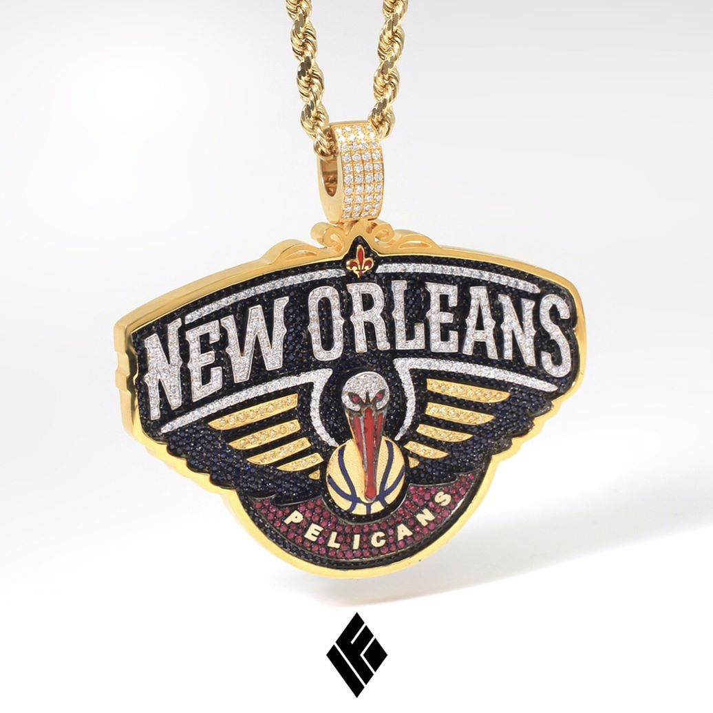 14kt solid custom gold new orleans pelicans pendant completely 14kt solid custom gold new orleans pelicans pendant completely hand carved and fully iced out in vs diamonds sapphires and rubies aloadofball Image collections