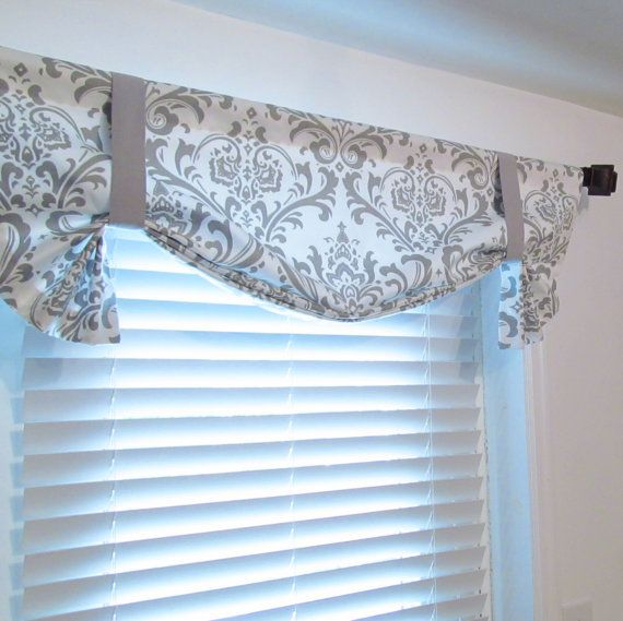 Tie Up Curtain Valance Gray White Damask By