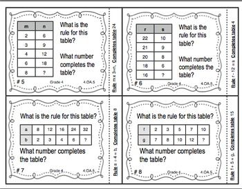 common core math task cards identifying patterns and rules ccss 4 oa 5. Black Bedroom Furniture Sets. Home Design Ideas