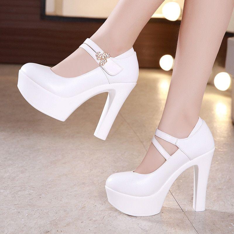 13cm Buckle Block Heels Leather Pumps Women Platform Shoes
