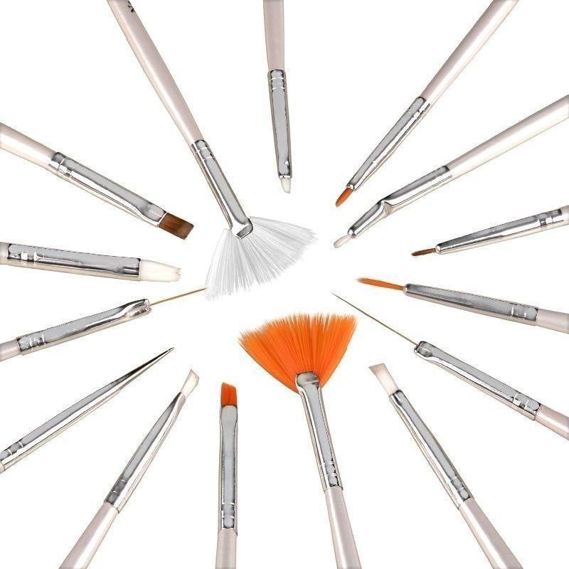Zodaca Nail Art Design Brush (Set of 15) (Brush Set + 5 pc Nail Pen ...