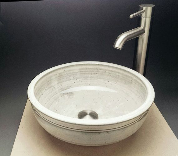 Small Pottery Vessel Sink Aprox 11 1 2 Quot Wide White W Gray Highlights Designed For Bathroom Remodeling Ready To Ship Sink Design Vessel Sink Sink