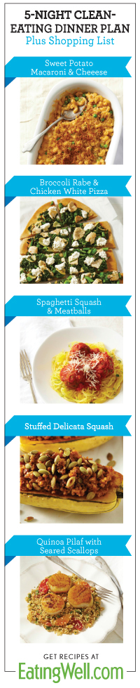 Get 5 dinner recipes that serve 4 with a easy shopping list attached! Find this dinner plan and more on EatingWell.com