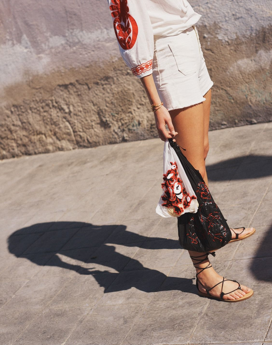 1a2b4111d8 madewell high-rise denim boyshorts worn with the boardwalk lace-up sandal +  embroidered blanca top.