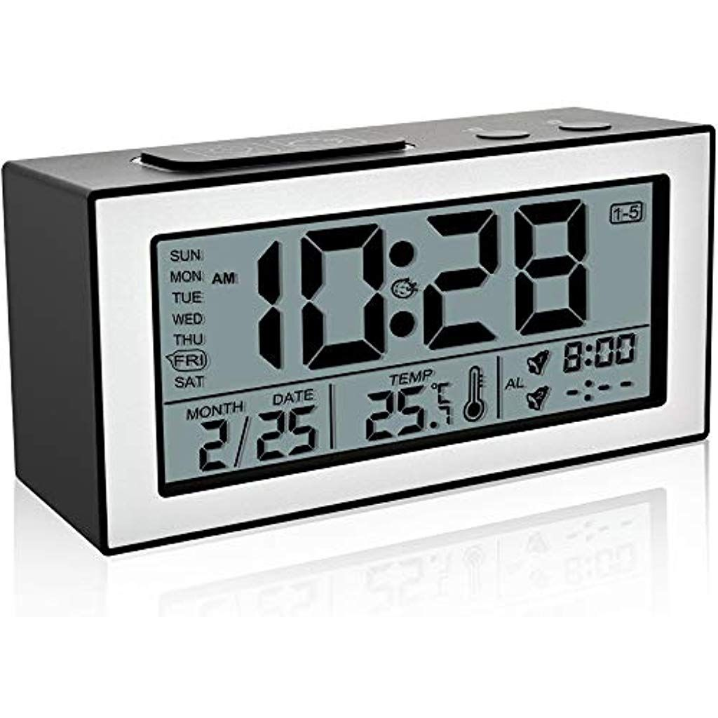Neucox Digital Alarm Clocks Bedside Non Ticking Battery Operated