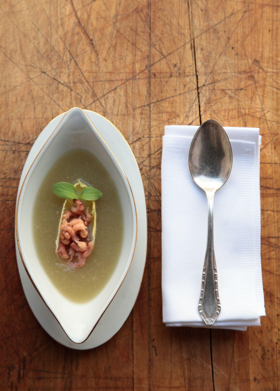 Recept voor witloofsoep met grijze garnalen   njam!
