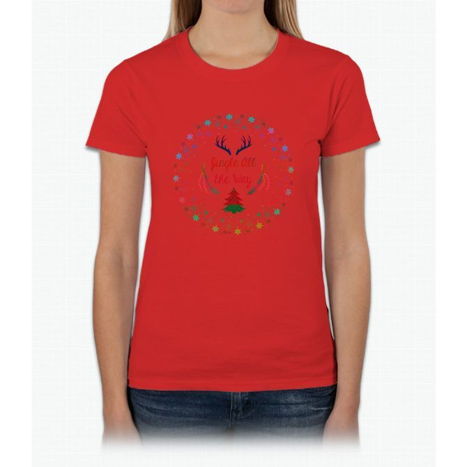 Gingle All The Way Merry Christmas Womens T-Shirt