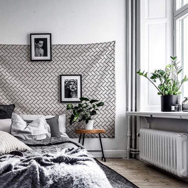 scandinavian bedroom grey black with green light with