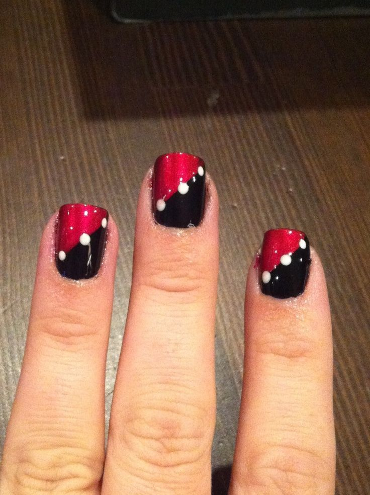 Red Black Nail Art Red Nail Designs Red And White Nails Black Nail Designs
