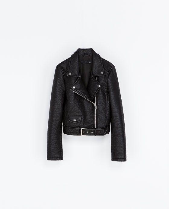 nuevas imágenes de muy baratas nueva ZARA - MUJER - CAZADORA BIKER EFECTO PIEL | Perfecto Leather ...