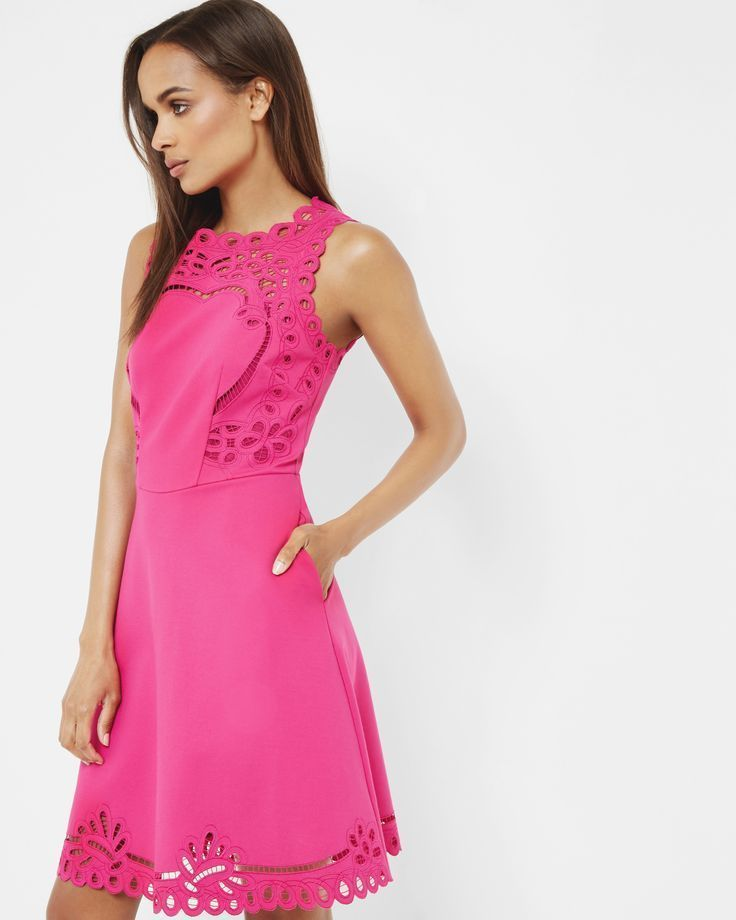 Ted Baker Bright Pink Embroidered Skater Dress