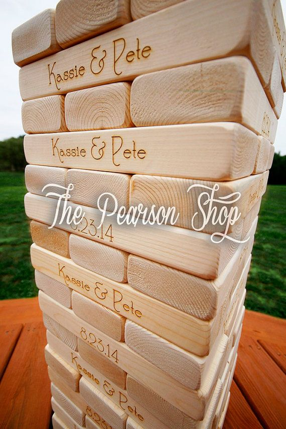 ENGRAVED Jenga Tower by ThePearsonShop on Etsy