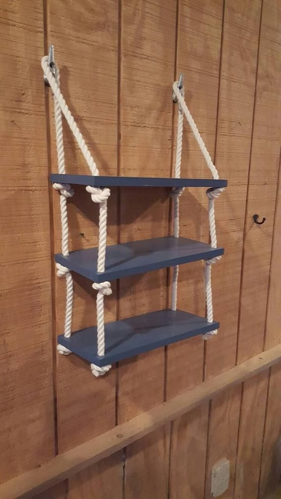 3 Tier Rope Shelf The Shelves Measures 17 8 The Shelves Are Approximately 10 Between Each They Can Be Painted Rope Shelves Nautical Shelves Nursery Shelves