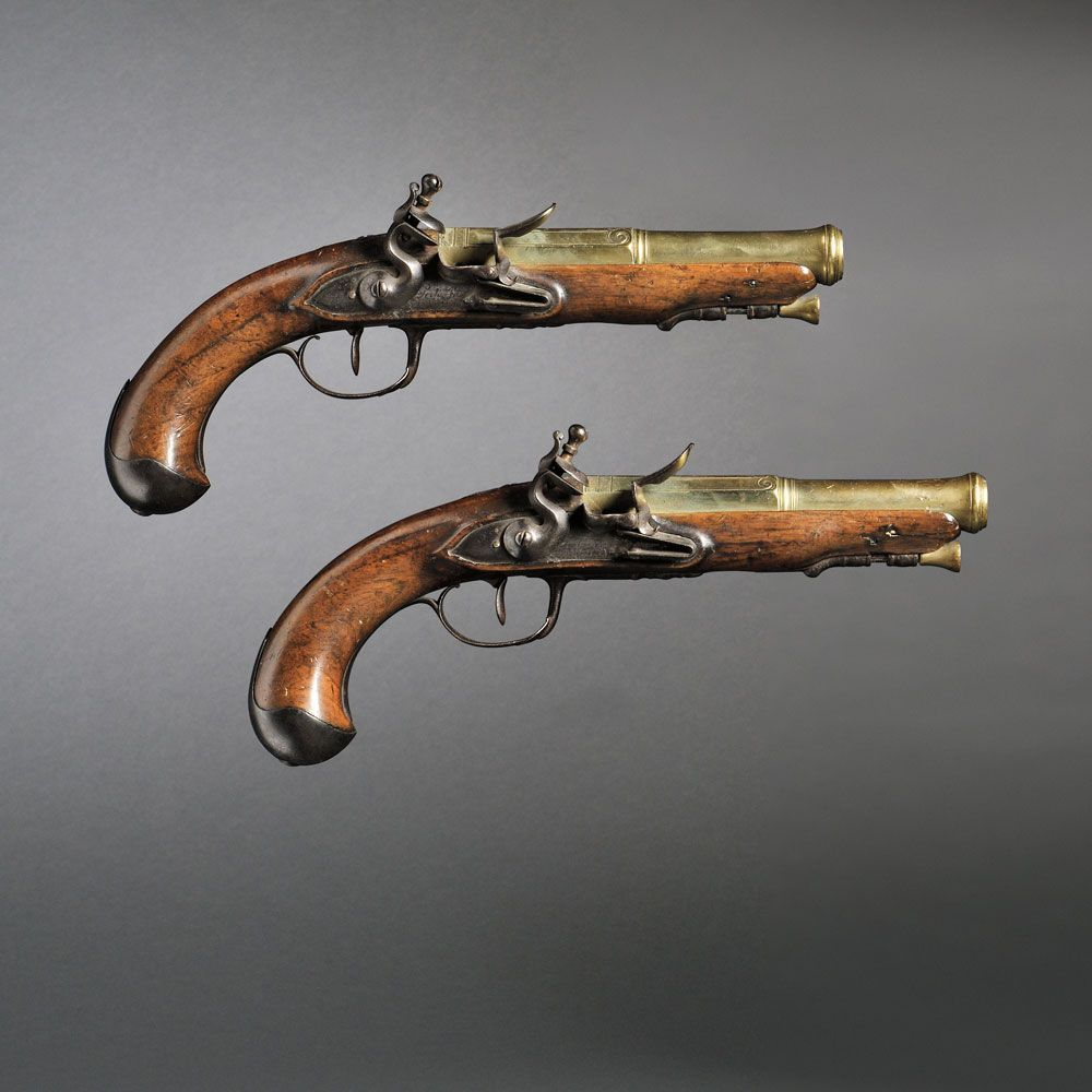 Pair of French Brass Barrel Flintlock Pistols, c. late 18th century ...