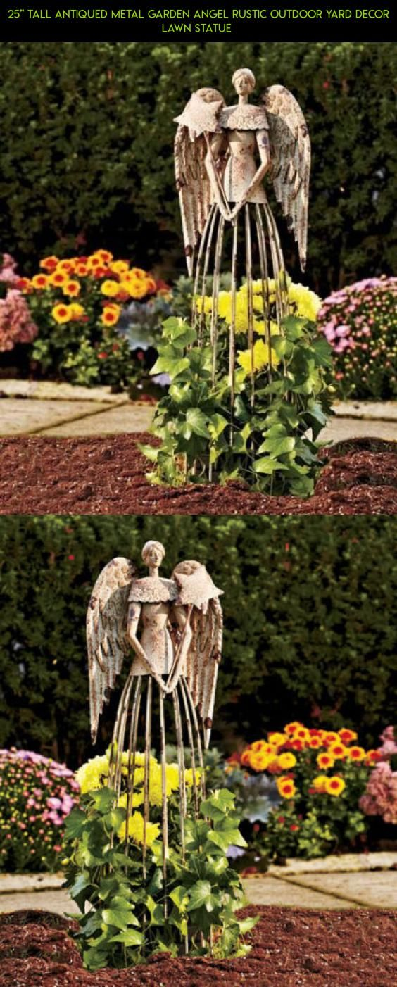 25\'\' Tall Antiqued Metal Garden Angel Rustic Outdoor Yard Decor Lawn ...