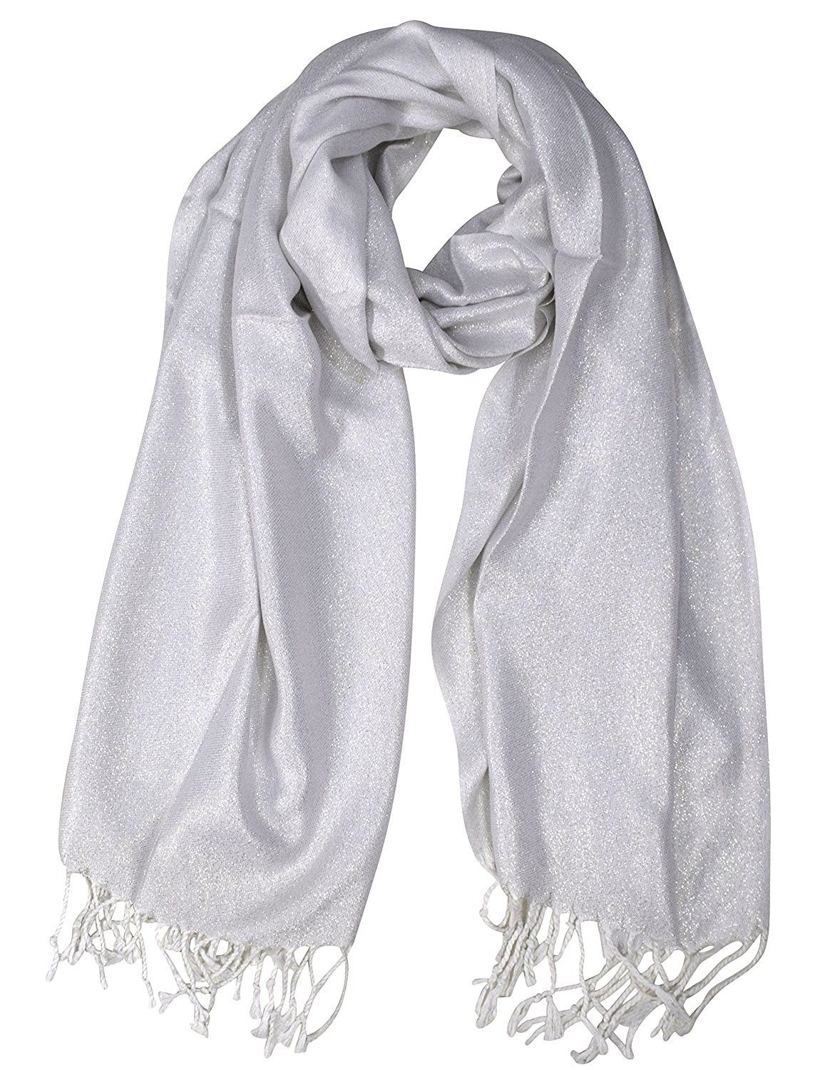 8a72c757f61 Princess Shimmer Scarf Pashmina Shawl with Fringes - White ...