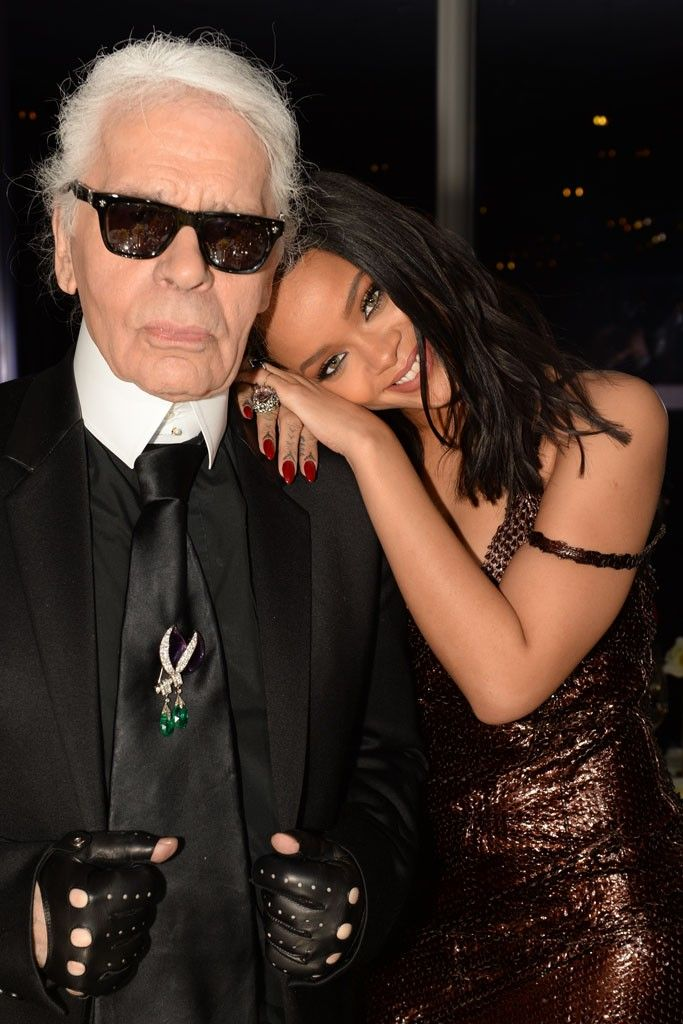 fd7ede179e Karl Lagerfeld with Rihanna in Fendi.  Photo by Steve Eichner