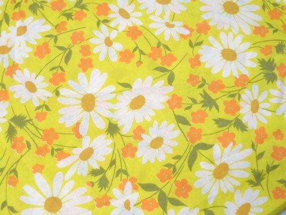 Yellow 100/% cotton sewing fabric whitte flower//floral printed for Decor by 1 YD