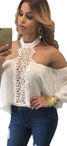 Sexy Chocker Neck Flare White Off The Shoulder Top #california #washington…