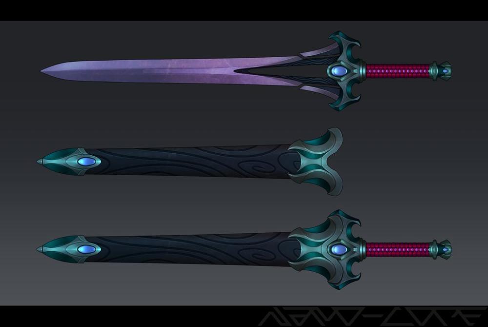 Dark Amethyst Sword With Custom Sheath By Nano Core On Deviantart In 2021 Sword Design Sword Digital Artist